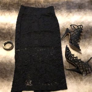 H&M black mini skirt with lace overlay xs